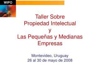 Taller Sobre  Propiedad Intelectual  y  Las Peque as y Medianas Empresas   Montevideo, Uruguay 26 al 30 de mayo de 2008