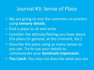 Journal #3: Sense of Place