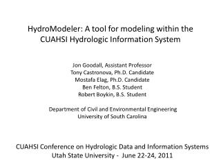 HydroModeler : A tool for modeling within the CUAHSI Hydrologic Information System