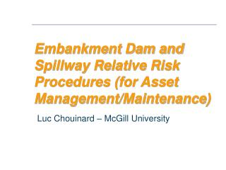 Embankment Dam and Spillway Relative Risk Procedures for Asset Management