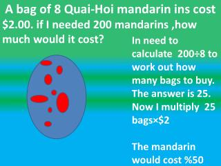 A bag of 8 Quai-Hoi mandarin ins cost   $2.00. if I needed 200 mandarins ,how much would it cost?