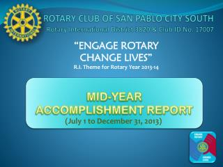 ROTARY CLUB OF SAN PABLO CITY SOUTH Rotary International District 3820 & Club ID No. 17007