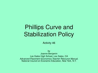 Phillips Curve and Stabilization Policy