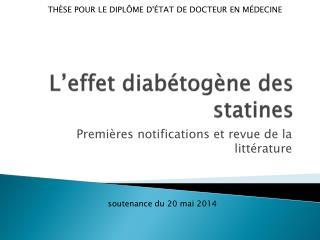 L'effet diabétogène des statines