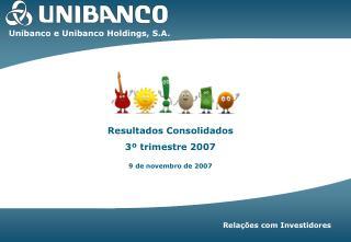 Resultados Consolidados  3º trimestre 2007 9 de novembro de 2007