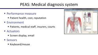 PEAS:  Medical diagnosis system