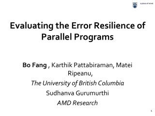 Evaluating the Error Resilience of Parallel Programs