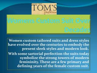 Women Collection of Custom Suits by Toms Fashion