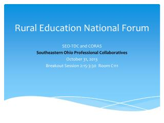 Rural Education National Forum