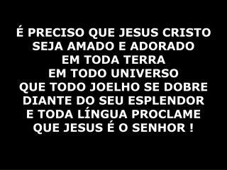 É PRECISO QUE JESUS CRISTO SEJA AMADO E ADORADO EM TODA TERRA  EM TODO UNIVERSO