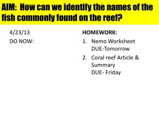AIM:  How can we identify the names of the fish commonly found on the reef?