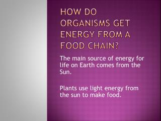 HOW DO ORGANISMS GET ENERGY FROM A FOOD CHAIN?