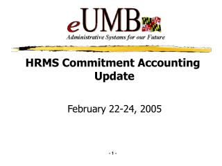HRMS Commitment Accounting  Update