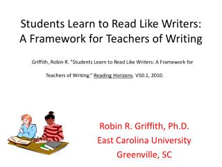 Students Learn to Read Like Writers: A Framework for Teachers of Writing