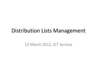 Distribution Lists Management