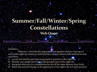 Summer/Fall/Winter/Spring Constellations Web Quest