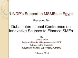 UNDP s Support to MSMEs in Egypt