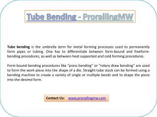 Tube Bending - Prorailing MW