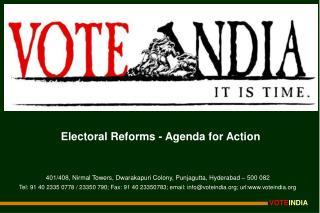 Electoral Reforms - Agenda for Action