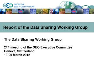 Report of the Data Sharing Working Group