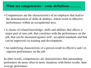 What are competencies   some definitions