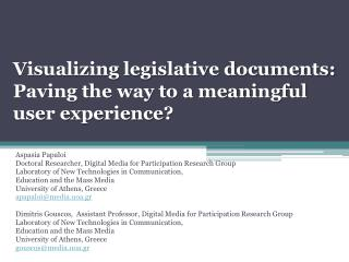 Visualizing legislative documents: Paving the way to a meaningful  user experience?