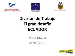 División de Trabajo El gran desafío ECUADOR