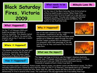 Black Saturday Fires, Victoria 2009.