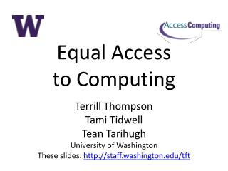 Equal Access  to Computing