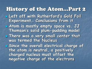 History of the Atom�Part 2