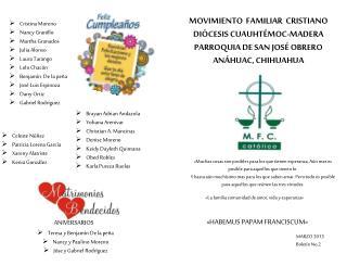 MOVIMIENTO  FAMILIAR  CRISTIANO DIÓCESIS CUAUHTÉMOC-MADERA PARROQUIA DE SAN JOSÉ OBRERO