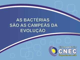 AS BACTÉRIAS  SÃO AS CAMPEÃS DA EVOLUÇÃO