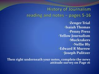 History of Journalism  reading and notes – pages 5-16