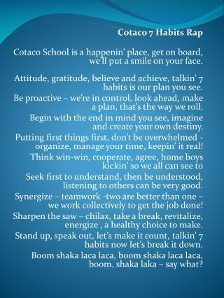 Cotaco 7 Habits Rap