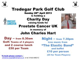 Tredegar Park Golf Club Sunday 28 th  April 2013 is holding a  Charity Day  raising funds for