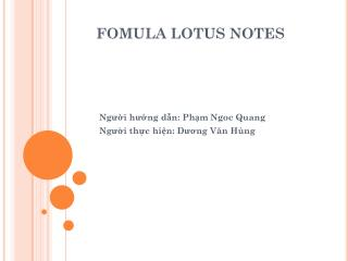 FOMULA LOTUS NOTES
