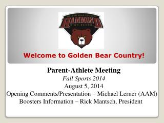 Parent-Athlete Meeting        Fall Sports 2014 August 5, 2014