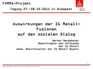 Auswirkungen der IG Metall-Fusionen  auf den sozialen Dialog