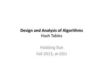 Design  and Analysis of  Algorithms Hash Tables