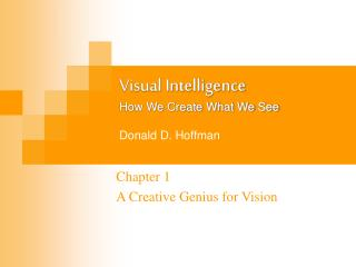 Visual Intelligence How We Create What We See  Donald D. Hoffman