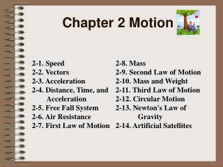 Chapter 2 Motion