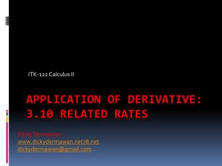 ApplicatioN  of Derivative: 3.10  Related Rates