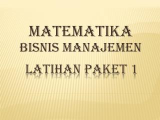 LATIHAN PAKET 1