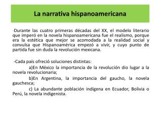 La narrativa hispanoamericana