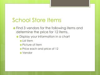 School Store Items