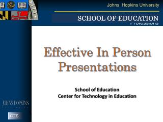 Effective In Person Presentations
