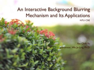 An Interactive Background Blurring Mechanism and Its Applications