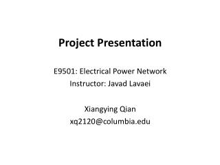 Project Presentation E9501: Electrical Power Network  Instructor:  Javad Lavaei Xiangying Qian