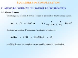 QUILIBRES DE COMPLEXATION
