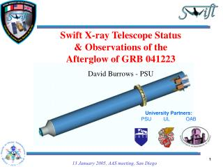 Swift X-ray Telescope Status & Observations of the Afterglow of GRB 041223 David Burrows - PSU